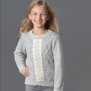 Creamie Girls Lace Panel Front Long Sweater